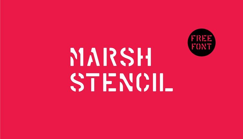 Marsh Stencil Regular шрифт скачать бесплатно