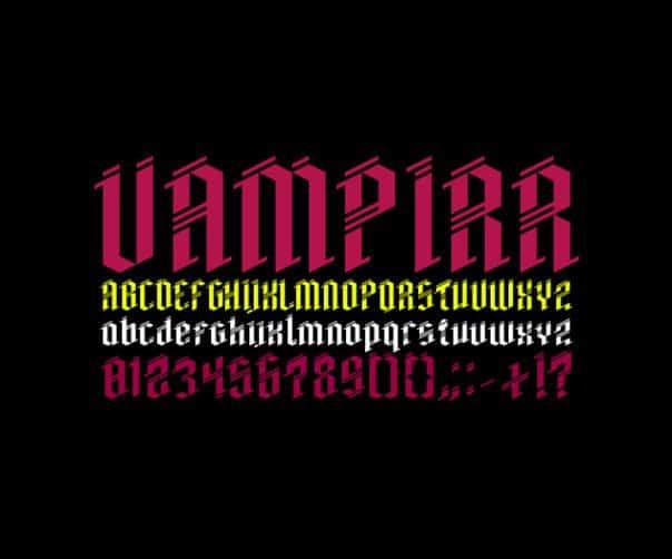 Vampirr шрифт скачать бесплатно