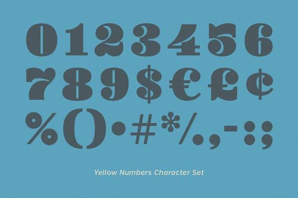 Yellow Numbers шрифт скачать бесплатно