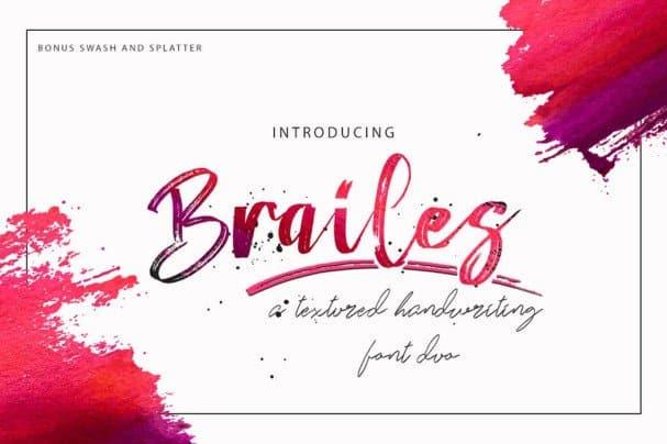 Brailes Font Duo + Swash and Splatter шрифт скачать бесплатно