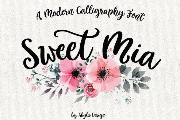 Modern calligraphy  , Sweet Mia шрифт скачать бесплатно
