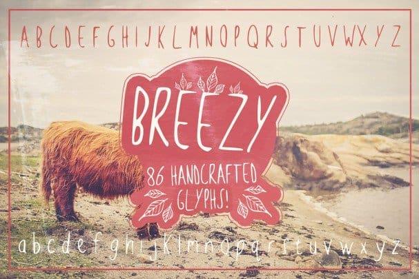 Breezy Handsketched Font шрифт скачать бесплатно
