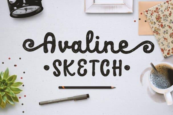 Avaline Script Sketch шрифт скачать бесплатно