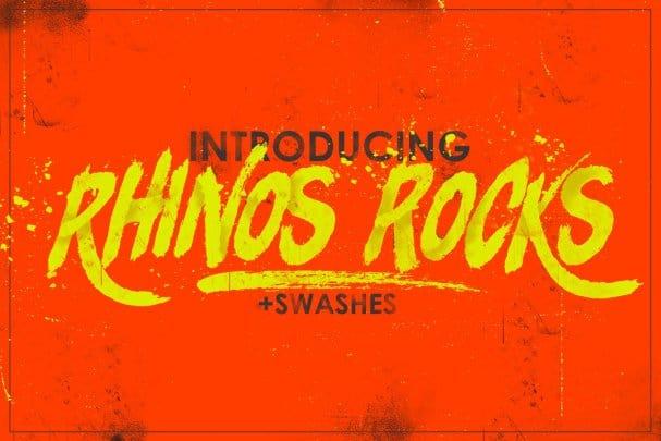 Rhinos Rocks Brush Font шрифт скачать бесплатно