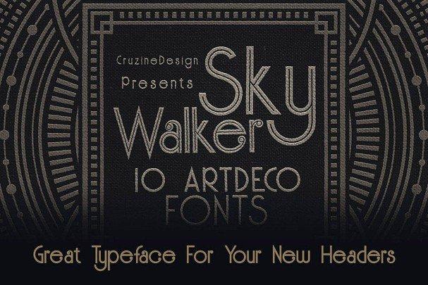 Skywalker - ArtDeco Typeface шрифт скачать бесплатно