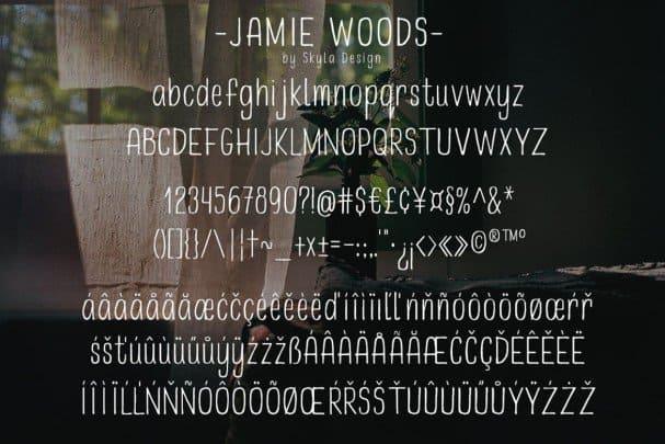 Skinny, condensed font - Jamie Woods шрифт скачать бесплатно