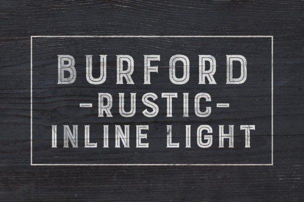 Burford Rustic Inline Light шрифт скачать бесплатно