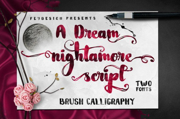 Nightamore Brush шрифт скачать бесплатно