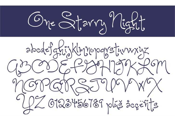 One Starry Night шрифт скачать бесплатно