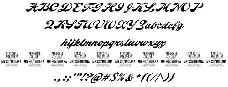 Indiana Script шрифт скачать бесплатно