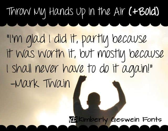 Throw My Hands Up in the Air шрифт скачать бесплатно