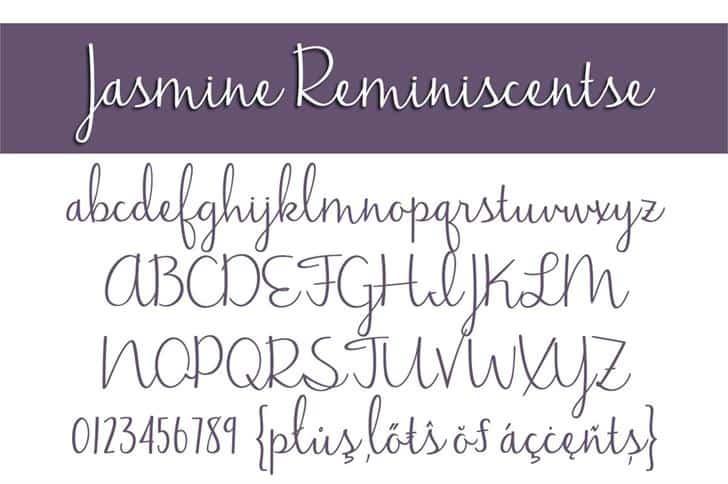 Jasmine Reminiscentse шрифт скачать бесплатно