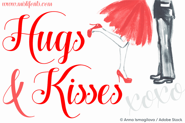 Hugs and Kisses xoxo Demo шрифт скачать бесплатно
