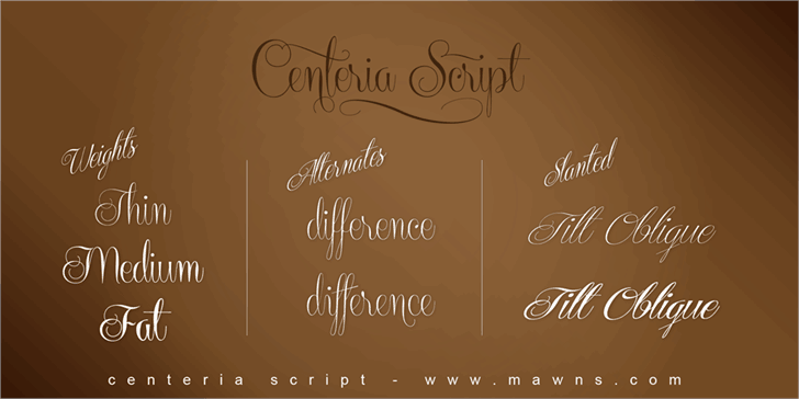 Centeria Script Demo шрифт скачать бесплатно